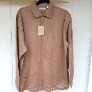 NEW L 100% Peruvian Pima Cotton Tan TURNBURY Shirt